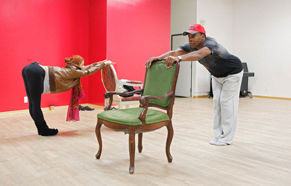 Sugar Ray Leonard and partner Anna Trebunskaya get friendly with some chair backs during rehearsal for season 12 of 'Dancing With the Stars,' which premieres on March 21 at 8 p.m. on ABC