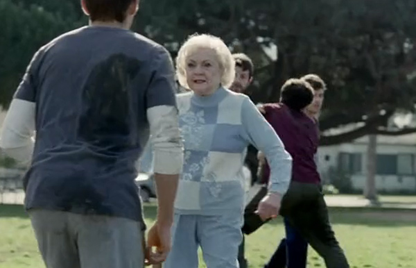 Pictured: Still image of Betty White in a 2010 Snickers ad that was played during the Super Bowl XLV.