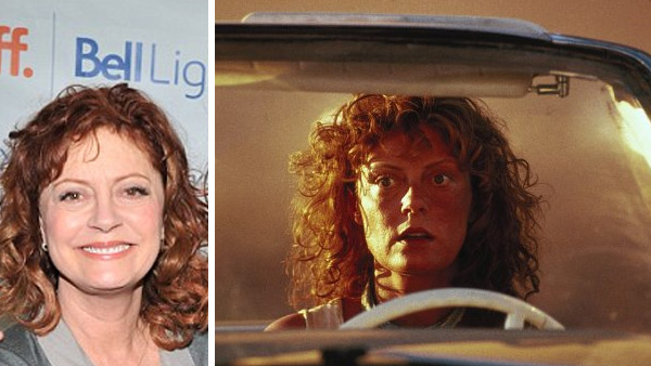 Susan Sarandon appears at Toronto's Roy Thomson Hall on June 7, 2011 to celebrate the 20th anniversary of 'Thelma and Louse.' / Susan Sarandon appears in a scene from the 1991 movie 'Thelma and Louise.'