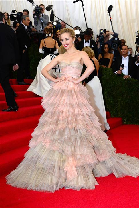 British model and actress Suki Waterhouse appears at the Metropolitan Museum of Art&#39;s 2014 Costume Institute Benefit gala, celebrating &#39;Charles James: Beyond Fashion,&#39; in New York on May 5, 2014. <span class=meta>(Briquet-Douliery &#47; Abaca &#47; Startraksphoto.com)</span>