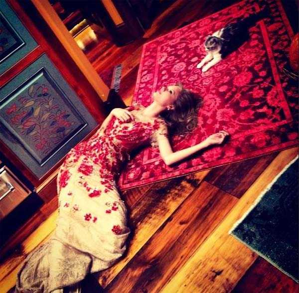 Taylor Swift Tweeted this photo on Thanksgiving - Nov. 22, 2012, saying: &#39;I&#39;m thankful for friendships like this.&#39; Swift lives with her cat, Meredith. <span class=meta>(twitter.com&#47;taylorswift13&#47;status&#47;271745931802734592&#47;photo&#47;1)</span>