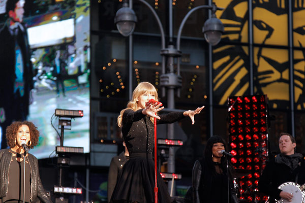 Taylor Swift performs in Times Square in New...