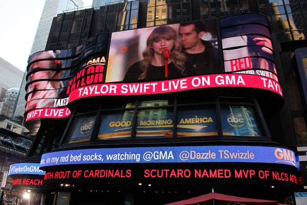 "<div class=""meta ""><span class=""caption-text "">Taylor Swift performs in Times Square in New York City for ABC's 'Good Morning America' on Oct. 23, 2012 to promote her new album 'Red.' (Lou Rocco / ABC)</span></div>"