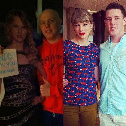 L-R: Kevin McGuire, a high school student battling cancer, is pictured with a cutout of Taylor Swift in 2012. &#47; Kevin McGuire, 19, poses with the real Taylor Swift on April 7, 2013. His family had launched a Facebook page titled &#39;Taylor Swift Go to Prom with Kevin McGuire.&#39; She was unable to attend his prom with him but she did end up taking him and his family to the 2013 ACM Awards. <span class=meta>(facebook.com&#47;pages&#47;Taylor-Swift-Go-to-Prom-with-Kevin-Mcguire)</span>