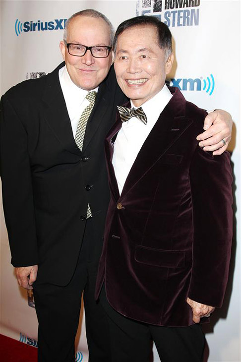 &#39;Star Trek&#39; alum George Takei and Brad Takei, formerly Brad Altman, appear at Howard Stern&#39;s 60th birthday bash in New York on Jan. 31, 2014. The two wed in September 2008. <span class=meta>(Kristina Bumphrey &#47; Startraksphoto.com)</span>