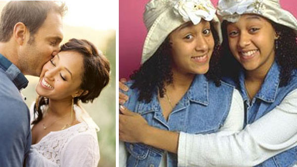 Tamera Mowry and Adam Houseley appear in a wedding photo posted by Jeff Nguyen on May 15, 2011. / Tia (right) and Tamara (left) Mowry appear in a promotional photo for the TV show, 'Sister, Sister.