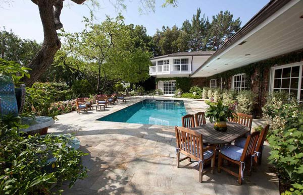 The pool outside Elizabeth Taylor's Bel Air home is seen in this photo provided by David Mossler of Teles Properties, Beverly Hills.