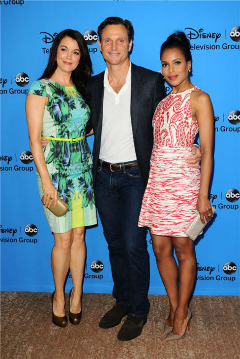 &#39;Scandal&#39; stars Bellamy Young, Tony Goldwyn and Kerry Washington attend the Disney-ABC Television TCA panel event in Beverly Hills, California on Aug. 4, 2013. <span class=meta>(Sara De Boer &#47; startraksphoto.com)</span>