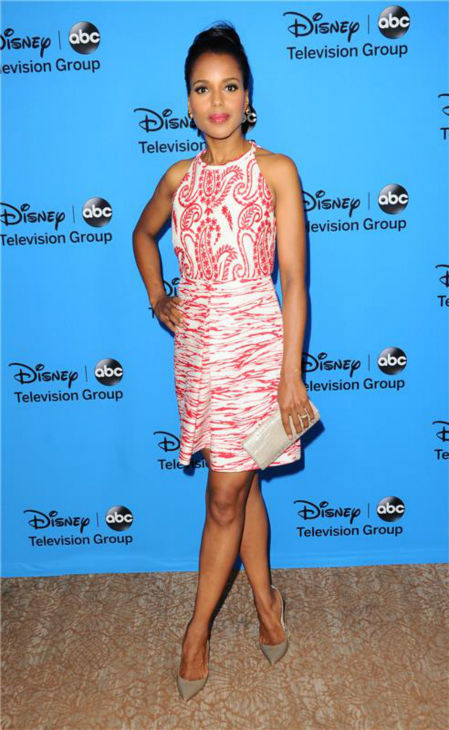 Kerry Washington, who plays Olivia Pope on ABC&#39;s &#39;Scandal,&#39; attends the Disney-ABC Television TCA panel event in Beverly Hills, California on Aug. 4, 2013. She is wearing a red and white printed Giambattista Valli frock. <span class=meta>(Sara De Boer &#47; startraksphoto.com)</span>
