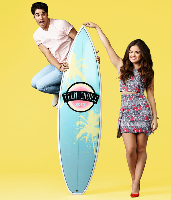 Co-hosts Darren Criss and Lucy Hale appear in a promotional photo for the 2013 Teen Choice Awards, which take place on Aug. 11, 2013. - Provided courtesy of Mathieu Young / FOX