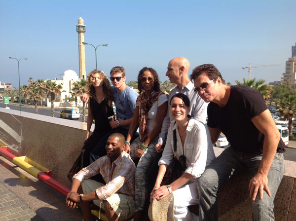 AnnaLynne McCord of the CW show '90210,' Zach Roerig of the CW series 'The Vampire Diaries,' Holly Robinson Peete and Omar Epps (left) appear with friends in Tel Aviv on May 7, 2012, when they began a trip to Israel.