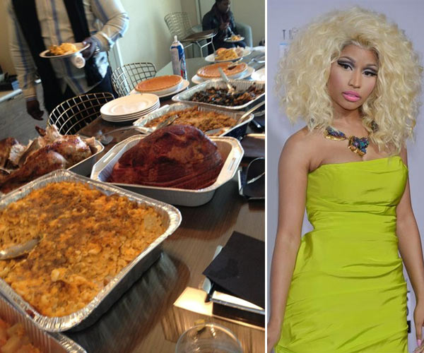 Rapper and &#39;American Idol&#39; judge Nicki Minaj Tweeted this photo of a Thanksgiving meal on Nov. 22, 2012, saying:  &#39;This may b the best macncheese in the world. Thanku manny!!!! &#40;sic&#41;&#39;  Pictured right: Nicki Minaj appears on the red carpet at the 2012 American Music Awards &#40;AMAs&#41; in L.A. on Nov. 18, 2012. <span class=meta>(twitter.com&#47;NICKIMINAJ&#47;status&#47;271673344015863808&#47;photo&#47;1 &#47; ABC &#47; Richard Harbaugh)</span>