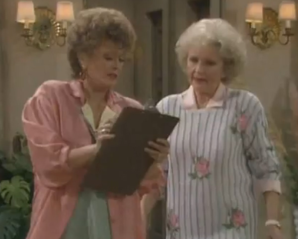 Pictured: Rue McClanahan and Betty White appear in a scene from the 1980s television series 'The Golden Girls.'