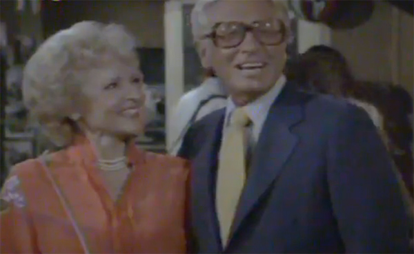 Betty White and third husband Allen Ludden appear in a scene from the television series 'The Love Boat,' which ran from 1977 to 1986.