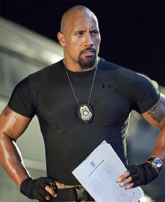 The Rock in a scene from the film 'Fast Five.'