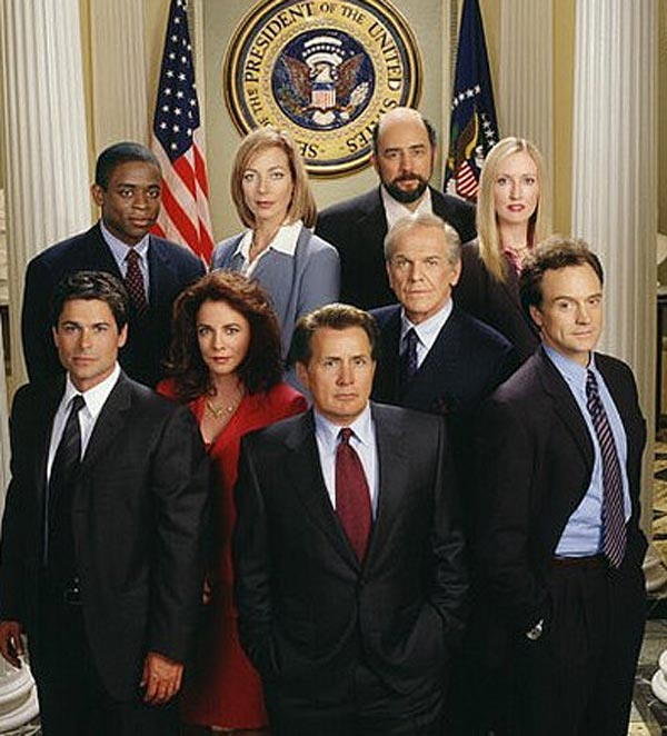 The cast of the NBC show 'The West Wing' appears...