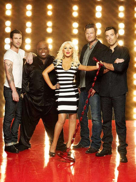 'The Voice' judges Adam Levine, Cee Lo Green, Christina Aguilera and Blake Shelton and host Carson Daily appear in a promotional photo for the series.