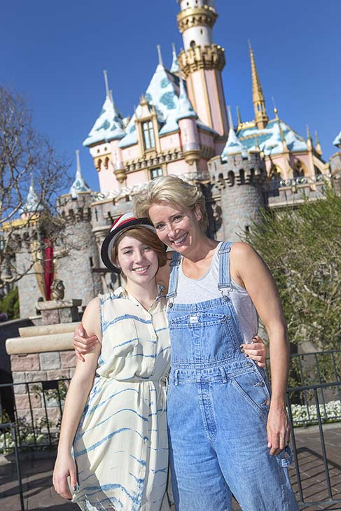 Emma Thompson and her daughter Gaia, 14, pose at Sleeping Beauty Castle in Disneyland in Anaheim, California on Monday, Jan. 13, 2014. Thompson plays P.L. Travers, the author of &#39;Mary Poppins,&#39; in Disney&#39;s 2013 movie &#39;Saving Mr. Banks.&#39; She was nominated for a Golden Globe for her role and attended the 2014 ceremony the day before. <span class=meta>(Paul Hiffmeyer &#47; Disneyland)</span>