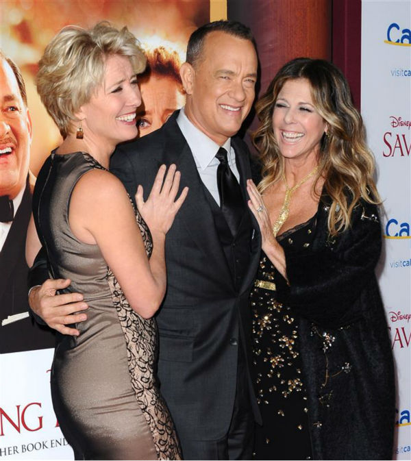 The time Emma Thompson, Tom Hanks and wife Rita Wilson enjoyed a laugh at the premiere of the Disney movie &#39;Saving Mr. Banks&#39; at Walt Disney Studios in Burbank, California on Dec. 9, 2013. <span class=meta>(Sara De Boer &#47; Startraksphoto.com)</span>