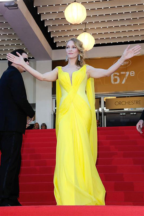 Uma Thurman arrives for the screening of &#39;Clouds of Sils Maria&#39; at the Cannes Film Festival in France on May 23, 2014. <span class=meta>(Aurore Marechal &#47; ABACA &#47; Startraksphoto.com)</span>