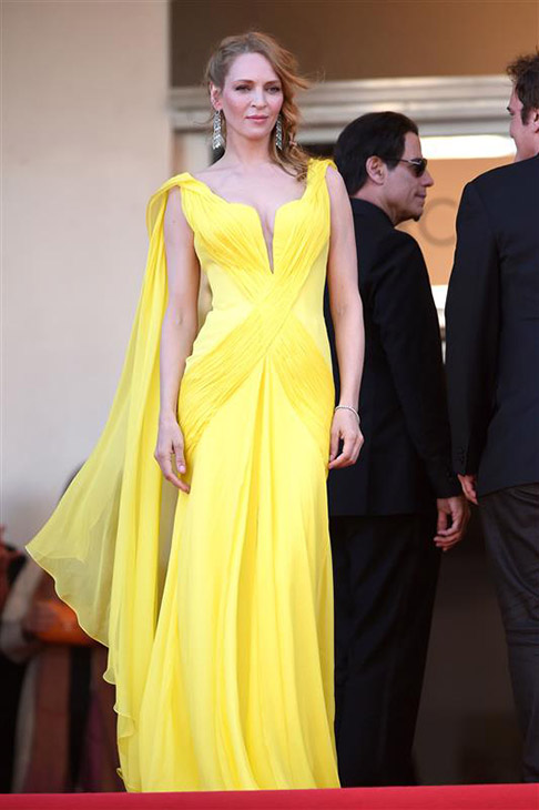 Uma Thurman arrives for the screening of &#39;Clouds of Sils Maria&#39; at the Cannes Film Festival in France on May 23, 2014. <span class=meta>(Lionel Hahn &#47; ABACA &#47; Startraksphoto.com)</span>