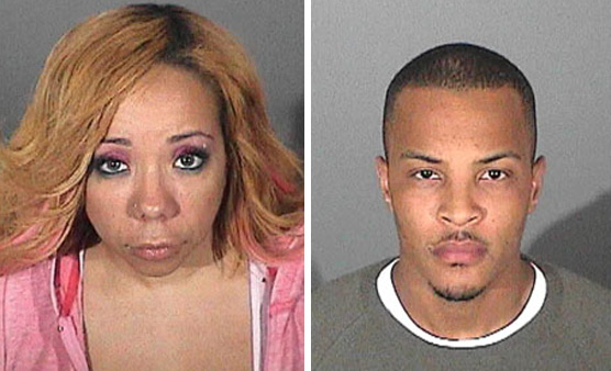 Tameka 'Tiny' Cottle and T.I. appear in mug shots taken after their September 2010 arrest for drug possession.