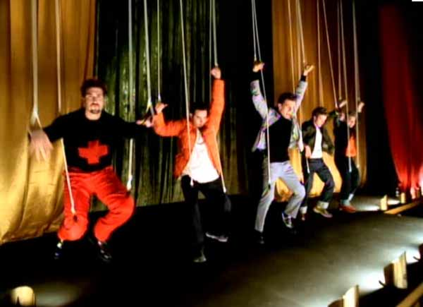 A scene from the N'Sync music video 'Bye Bye Bye.'