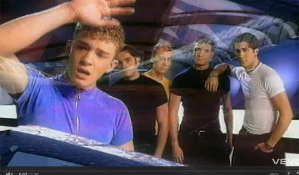 A scene from the N'Sync music video 'I Want You Back.'