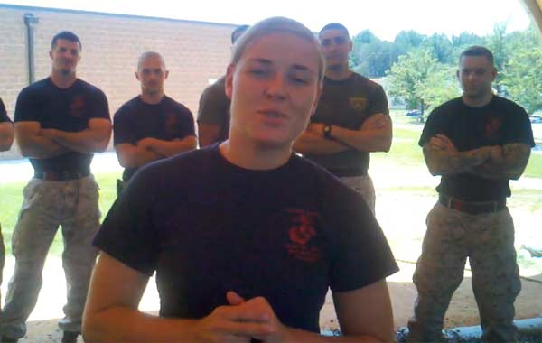 Corporal Kelsey De Santis appears in a YouTube video posted in July 2011, which shows her asking out Justin Timberlake.
