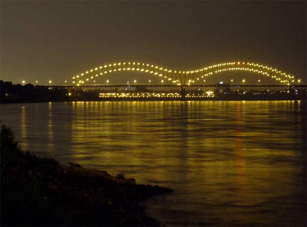 A photo of the Hernando Desoto Bridge in...