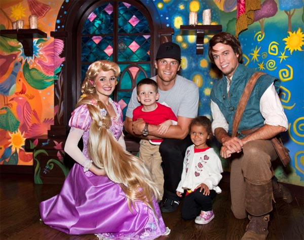 New England Patriots Quarterback Tom Brady, his son Jack (4) and niece Jordan (5), meet Rapunzel  while celebrating Jordan's fifth birthday at Disneyland in Anaheim, Calif., on Thursday, April 21, 2011.