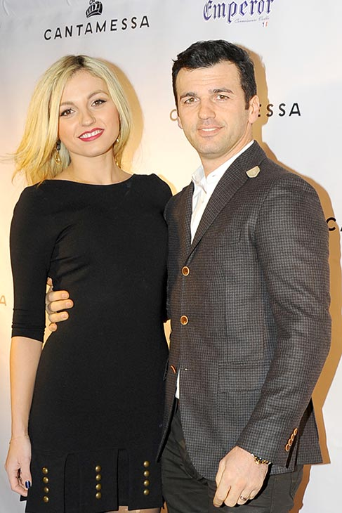 &#39;Dancing With The Stars&#39; pro-dancer Tony Dovolani and wife Lina Dovolani appear at &#39;DWTS&#39; alum Maksim Chermovskiy&#39;s and Robert Kheit &#39;s Cantamessa Men jewelry collection launch party at Tao Downtown Lounge in New York on Feb. 10, 2014. <span class=meta>(Paul Bruinooge &#47; PatrickMcMullan.com)</span>