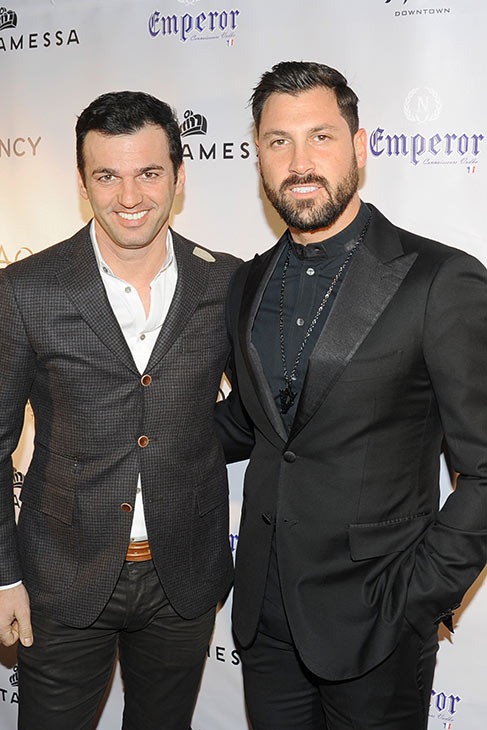 &#39;Dancing With The Stars&#39; alum Maksim Chermovskiy appears at his and Robert Kheit&#39;s Cantamessa Men jewelry collection launch party at Tao Downtown Lounge in New York with &#39;DWTS&#39; star Tony Dovolani on Feb. 10, 2014. <span class=meta>(Paul Bruinooge &#47; PatrickMcMullan.com)</span>