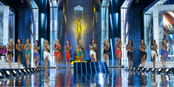 Nina Davuluri, Miss New York (third from right) and her fellow contestants await their fate at the Miss America 2014 pageant in Atlantic City, New Jersey on Sept. 15, 2013.