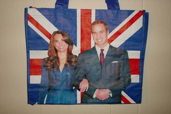 Tote bags featuring Prince William&#39;s and Kate Middleton&#39;s engagement photo going for &#36;26 as of April 27, 2011. <span class=meta>(Ebay user 4pako&#47; myworld.com&#47;ebay&#47;4pako)</span>