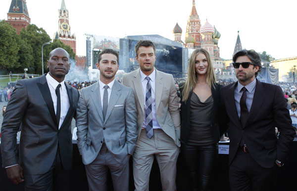 From left: Tyrese Gibson, Shia LaBeouf, Josh Duhamel, Rosie Huntington-Whiteley and Patrick Dempsey attend a 'Transformers 3: Dark of the Moon' event, which included a Linkin Park concert, in Moscow, Russia on June 23, 2011.