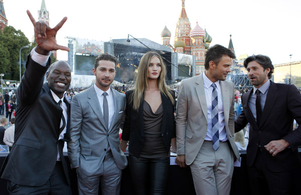 From left: Tyrese Gibson, Shia LaBeouf, Rosie Huntington-Whiteley, Josh Duhamel and Patrick Dempsey attend a 'Transformers 3: Dark of the Moon' event, which included a Linkin Park concert, in Moscow, Russia on June 23, 2011.