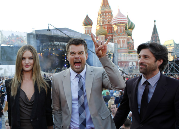 From left: Rosie Huntington-Whiteley, Josh Duhamel and Patrick Dempsey attend a 'Transformers 3: Dark of the Moon' event, which included a Linkin Park concert, in Moscow, Russia on June 23, 2011.