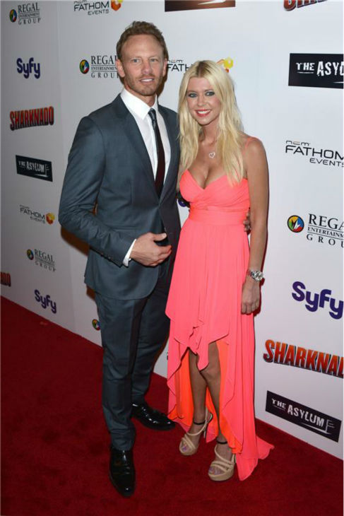 Tara Reid and Ian Ziering attend the premiere of 'Sharknado' on Aug. 2, 2013.