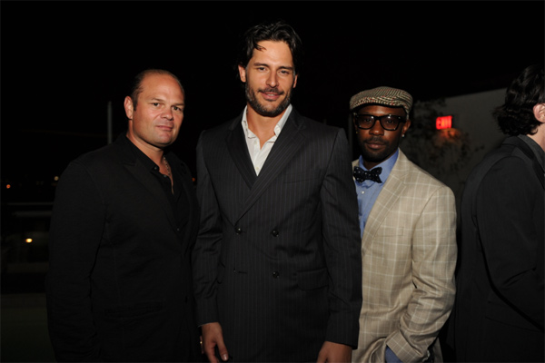 From left: Chris Bauer, Joe Manganiello and Nelsan Ellis from 'True Blood' appear at an intimate cocktail party to celebrate the launch of the Joseph Abboud watch collection at the Sunset Tower Hotel in Los Angeles on Thursday, June 16, 2011.