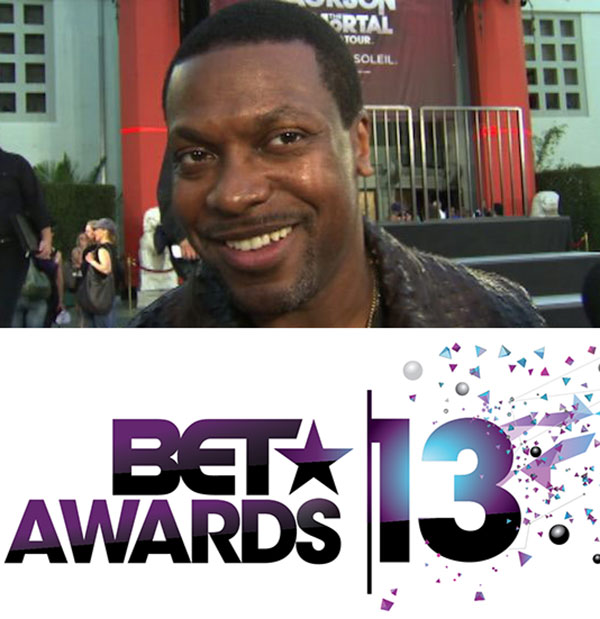 Chris Tucker talks to OTRC.com at Michael Jacksons hand and footprint ceremony at the Graumans Chinese Theatre on Jan. 26, 2012. / The official logo for the 2013 BET Awards. - Provided courtesy of OTRC / Viacom
