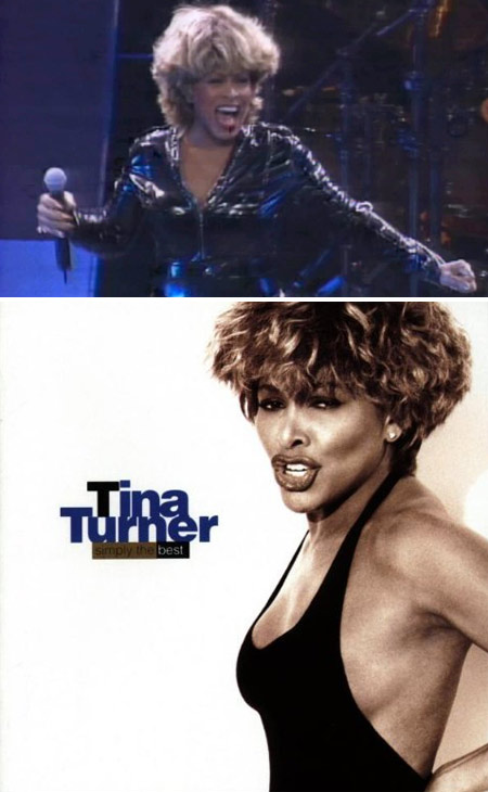 Tina Turner appears in concert in 2008. / Tina Turner appears on the cover of her 1991 compilation album 'Simply the Best.')