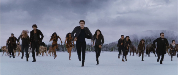 Bella and Edward (Kristen Stewart and Robert Pattinson) and their vampire and werewolf allies appears in a scene from the 2012 movie 'The Twilight Saga: Breaking Dawn - Part 2.'