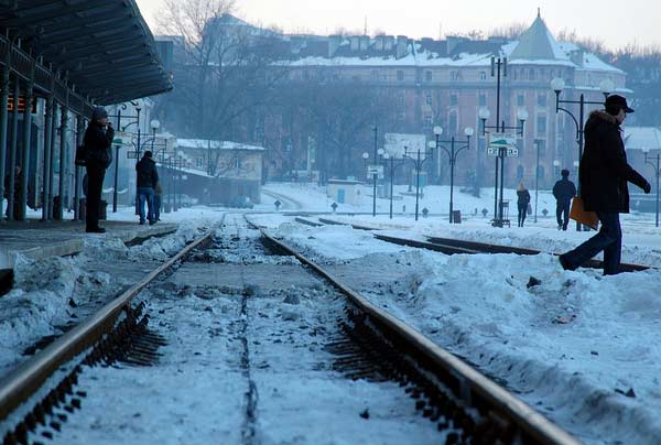 A photo of the city of the Chernivitsi Railway Station in Ukrain taken on Jan. 4, 2011.