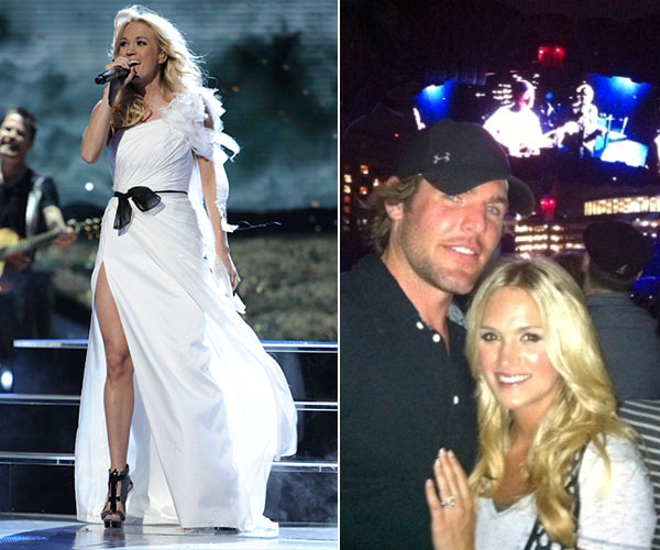 Carrie Underwood performs on American Idol on May 3, 2012. / Carrie Underwoods husband, NHL player Mike Fisher, posted this photo of the two at a U2 concert on July 2, 2011.  - Provided courtesy of Michael Becker / FOX / twitpic.com/5kesdr / twitter.com/mikefisher1212