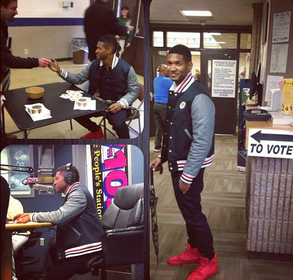 Usher Tweeted these photos on Election Day, saying: 'I voted for FORWARD movement,' meaning Barack Obama.