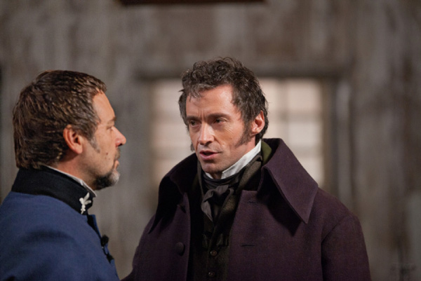 Hugh Jackman and Russell Crowe appear as Jean Valjean and his nemesis Javert i