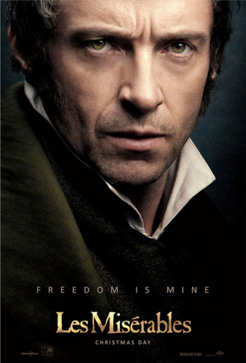 Hugh Jackman appears as Jean Valjean in an official poster for the 2012 movie 'Le