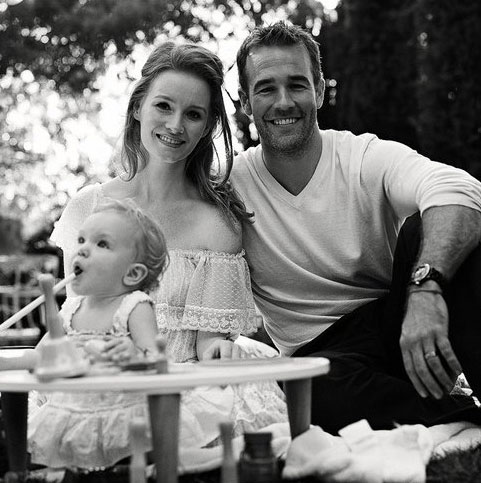 James and Kimberly Van Der Beek and baby Olivia are pictured in a photo posted on Kimberly Van Der beek's Twitter page in 2011.