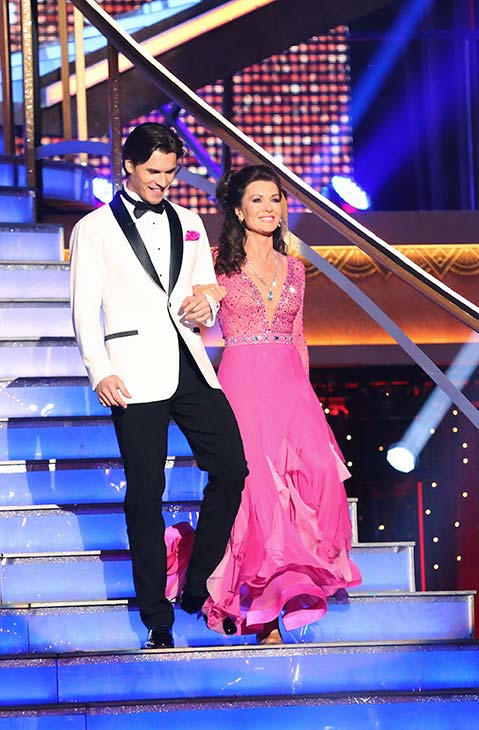 "<div class=""meta ""><span class=""caption-text "">'Real Housewives of Beverly Hills' star Lisa Vanderpump and her partner Gleb Savchenko prepare to dance on the season 16 premiere of 'Dancing With The Stars,' which aired on March 18, 2013. They received 18 out of 30 points from the judges for their Foxtrot routine. (ABC Photo / Adam Taylor)</span></div>"